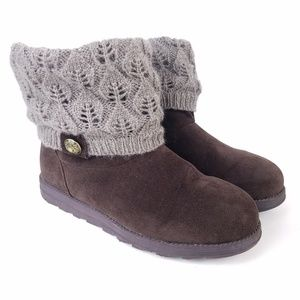 MUK LUKS Fold Over Slouch Knit Ankle Booties Vegan